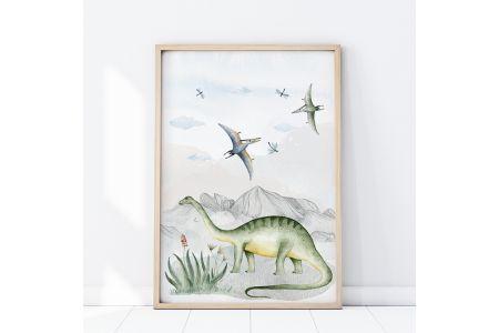 Image Dinosaures Diplodocus et Ptérodactyles